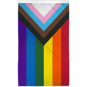 a rainbow flag with an inward-pointing triangle at one end, which consists of black, brown, and trans flag color stripes