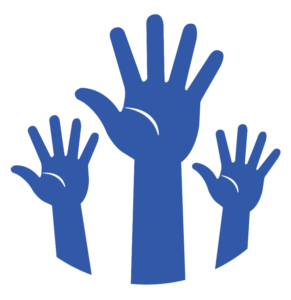 Icon of three raised hands