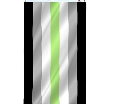 the agender flag, with a lime green stripe in the middle, sandwiched by white stripes, then grey stripes, then black stripes