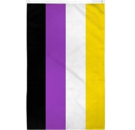The non-binary flag. Top stripe is yellow, then white, then purple, then black.